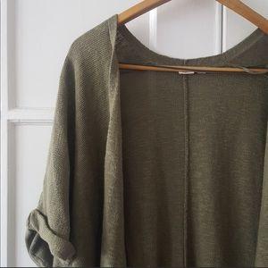 Gap Army Green Open Knit Cardigan Wrap Kimono